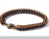 Copper and Black  Persian Weave Chain Maille Bracelet with Bronze Fish Clasp