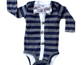18 Month - Baby Cardigan and Bow Tie Set - Navy and Grey Gingham - Trendy Baby Boy
