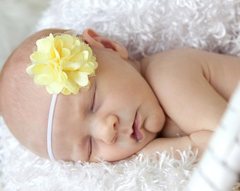 Baby Headband Satin Tulle Flower Headband Baby girl headband Newborn headband Tiny Flower  Petite flower Bow