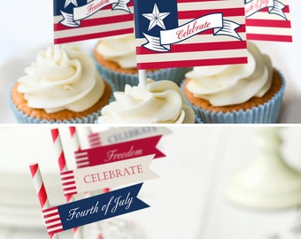 Fourth of July Printable Party INSTANT DOWNLOAD Banner Cupcake Flag Toppers Cupcake Wrappers Drink Flags Welcome Sign