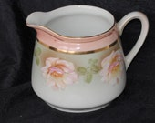 Vintage Creamer, Germany, Embossed and Numbered, Carnation Pink Floral Design, 1940s