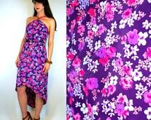 Hi-Lo Hem Vibrant Purple Floral Dress. ASSYMETRICAL High Low mini / Maxi. Vintage 80s Gypsy boho hippie Halter frock. Extra Small - Small
