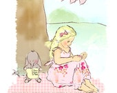 "Girls room art, Childrens wall art, Kids wall art,  room decor, Children's art print, ""Under the tree"" , (8 x 12 "")"
