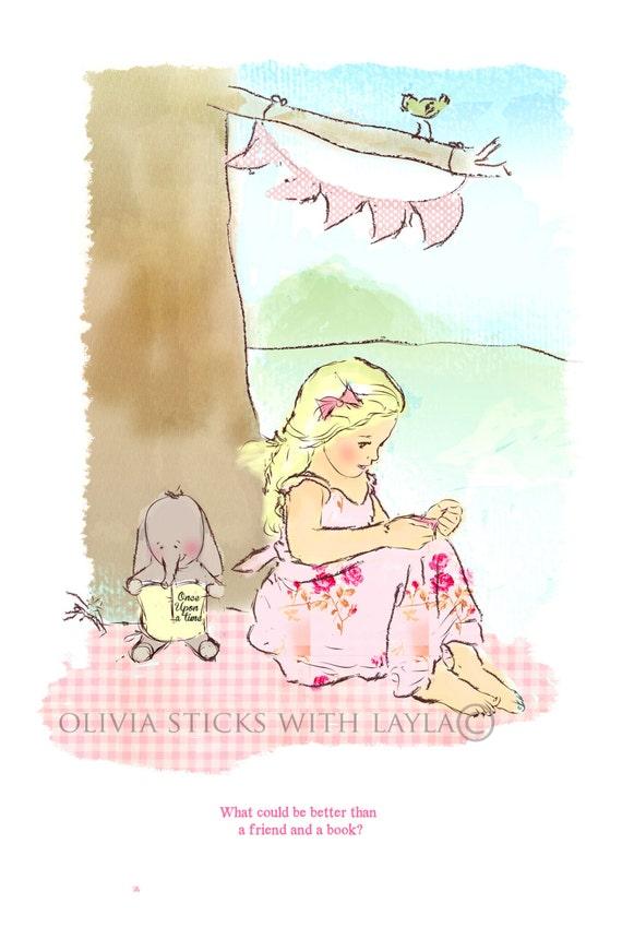 "Girls room art, ""Under the tree"""