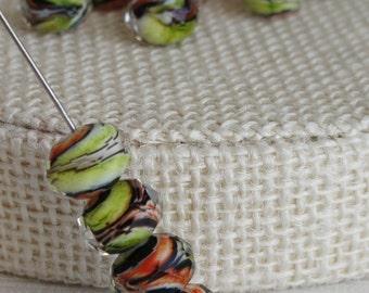 Glass Beads, Bead, Supplies, Murano Czech Glass Faceted Art Beads Rondelle oval 15