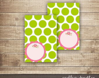 Pink & Lime Green Owl Tent Cards / Polka Dots Tent Cards / Place card or Food label Printable Tent Cards - INSTANT DOWNLOAD - Printable