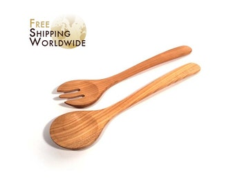 Wooden Salad serving mixing Set Long from Cherry wood