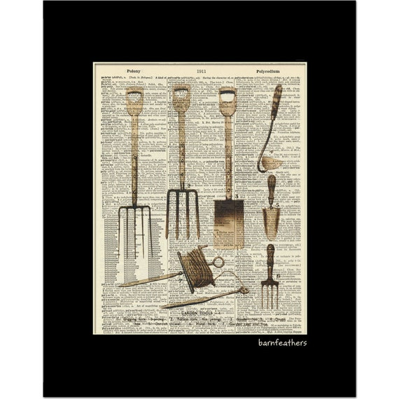 Items similar to vintage garden tool illustration for Gardening tools dictionary