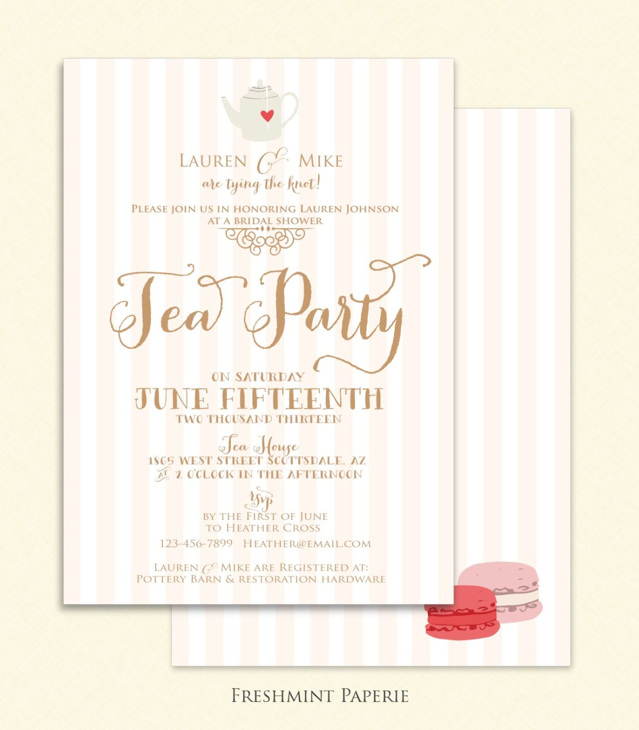 Wedding Party Invitations: Bridal Shower Invitation Tea Party Invitation Printable
