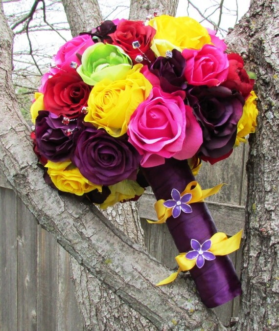 Items similar to Multi Colored Rose Bouquet Bright Classy ...