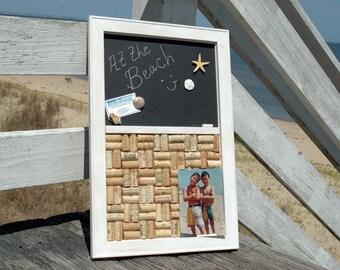 Coastal Wine Cork board & Magnetic Chalkboard Magnet Board Wall Organizer with Shell Magnets Beach Decor