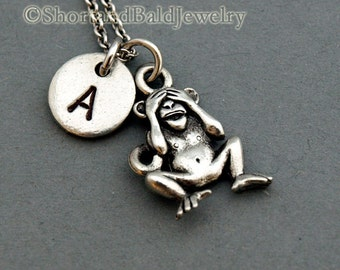 See no evil monkey, Three Monkeys Necklace, three wise monkeys, initial necklace, Personalized, antique silver, monogram