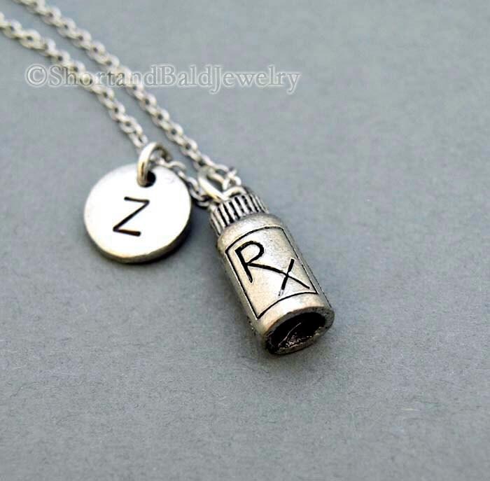 Rx medicine bottle necklace pill bottle rx bottle initial for Pill bottle jewelry