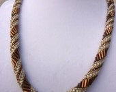 brown and cream glittery russian spiral beaded necklace and pearl earrings set, PRICE REDUCED
