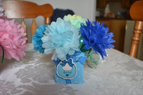 Baby Boy Shower Flower Centerpieces 570 x 380