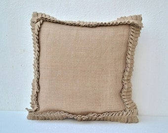 Natural Burlap Ruffles pillow cover  16X16 inches cushion cover Dorm Decor Easter decor St. Patrick Day Wedding Registry