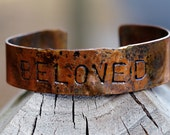 Men's and Women's Personalized Copper Cuff Bracelet- 'Beloved'  WRITING,  ADJUSTABLE Copper Cuff Bracelet