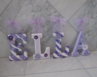 """CUSTOM 'ELLA' 6"""" Nursery Wooden Wall Letters - Ten Dollars Per Letter In Child's Name -  We Can Match Any Nursery Colors and Theme"""