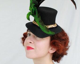 Custom Order: Vintage 1940s-Style Single Faux Bird Wool Felt Tilt Topper Hat