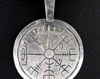 Vegvisir / Aegishjalmur, round sterling silver pendant