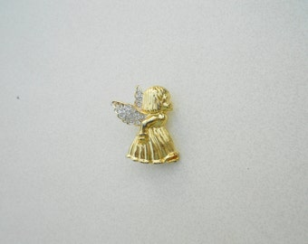 Vintage Angel brooch Winged girl Christmas pin 1970s Marked ROMAN gold tone white glass rhinestones