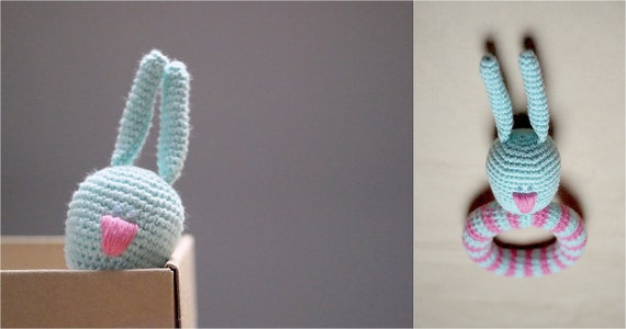 Crochet Rattle - Gentle Bunny with a nice pink nose - Baby Teething toy - Baby gift