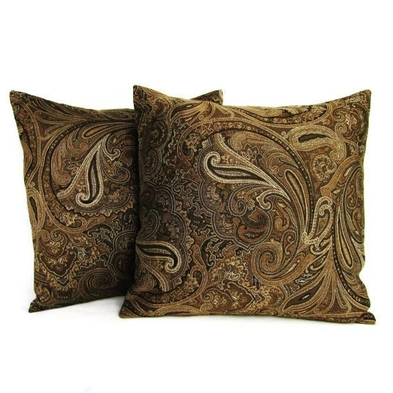Small Brown Decorative Pillows : Throw Pillow Covers Brown Gold Paisley 16x16 by GigglesOfDelight