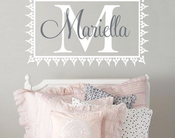 Personalized Vinyl Initial And Name Wall Decal - Shabby Chic Baby Girl Nursery Monogram - Toddler Or Teen Room Wall Art 22H x 36W GN037