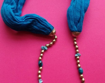 Handwoven cotton scarf necklace.  Made by Seble