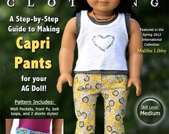 Pixie Faire Liberty Jane Capri Pants and Shorts  Bundle Doll Clothes Pattern for 18 inch American Girl Dolls - PDF