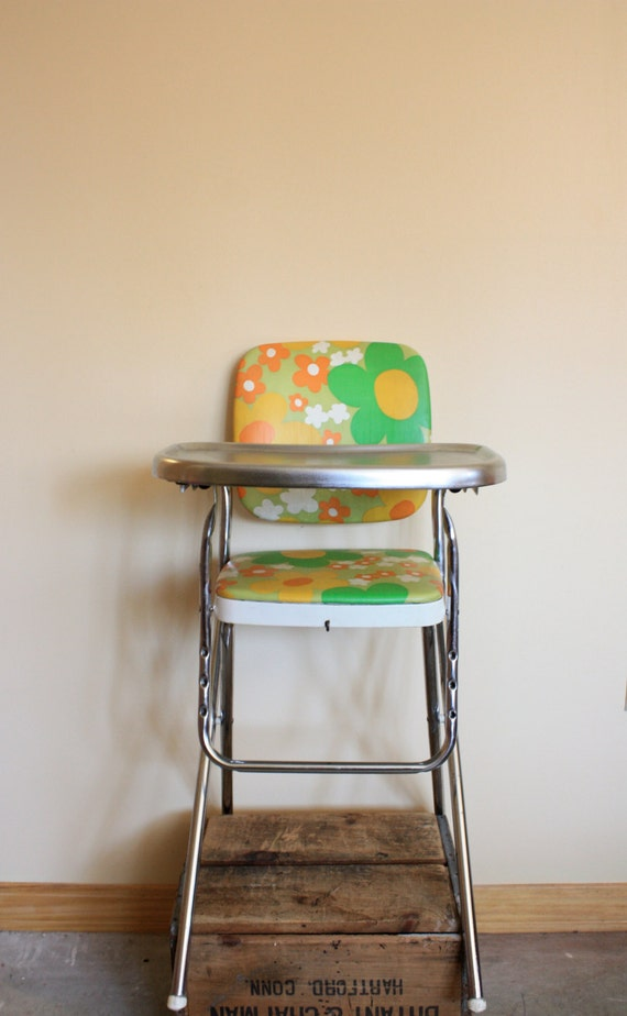 Vintage 70 S Orange Yellow Olive And Green Floral Kitchen
