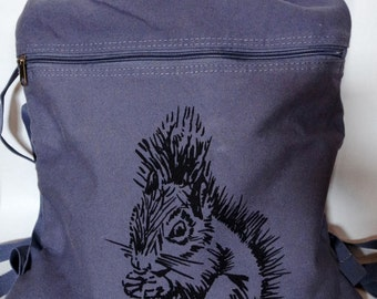 Screen Printed Squirrel Canvas Drawstring Backpack