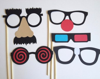 5 Wacky Glasses - Photo Booth Props - 5 Pieces