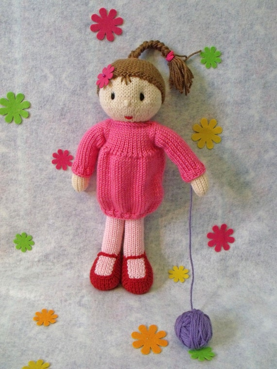 Toy doll knitting pattern. Rosabella the doll. PDF instant