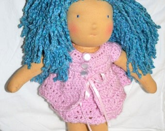 "SALE- Waldorf Doll: Bella Blue- Beautiful Handmade 18"" Waldorf Doll with Adorable 9 Piece Wardrobe"