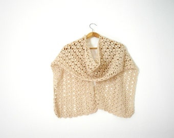 romantic scarf beige crochet scarf for woman - made on order