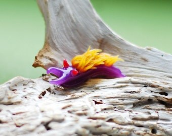 Purple Nudibranch Necklace - Flabellina Iodinea, Spanish Shawl, Polymer Clay Sea Slug