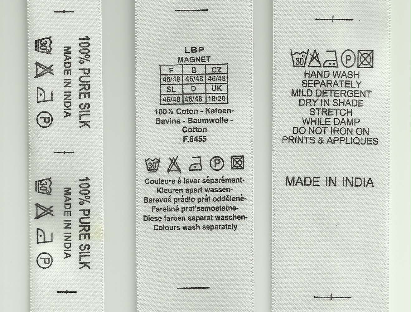 500 Custom Printed Labels For Clothing Care Labels From