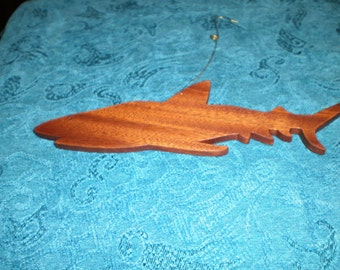 Large Shark Ornament - handmade of wood