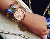 Swarovski Crystal AB (Aurora Borealis) Stone & Gold Chunky Chain Bracelet - The Barcelona II