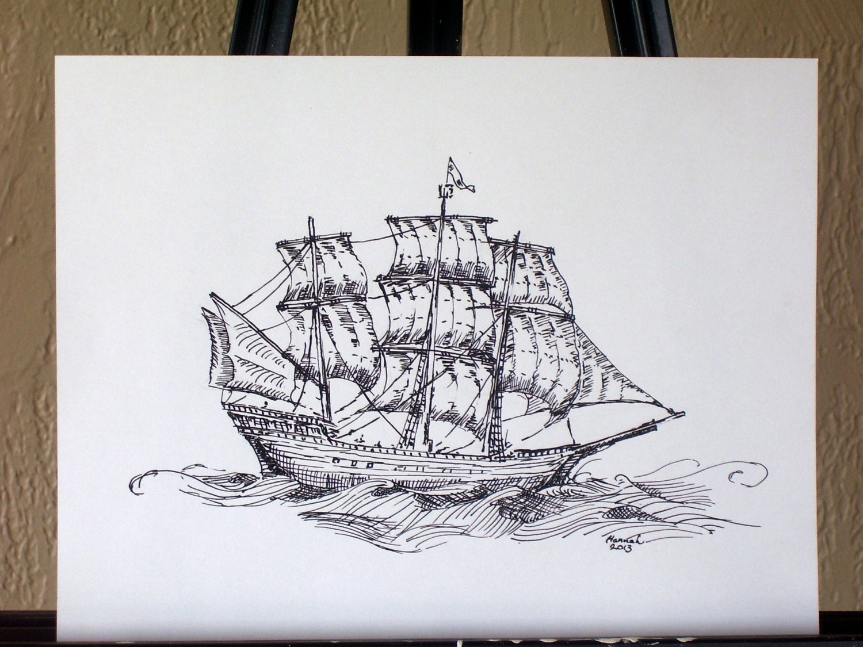 Original Ink Drawing Sailing Ship/Pirate Ship