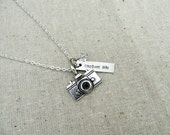Capture Life - Hand Stamped Necklace with Camera Charm and Swarovski Crystal