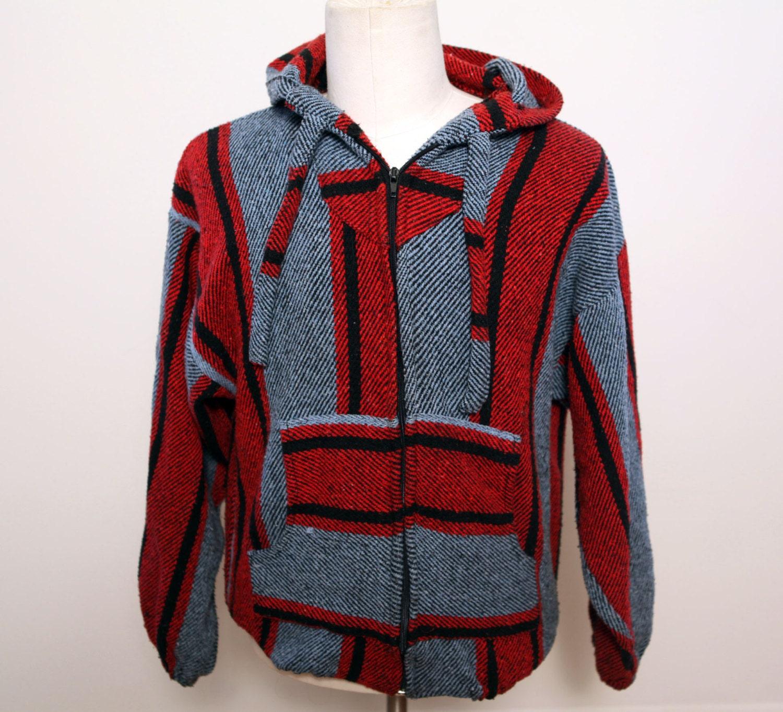 Vintage 80s Baja Drug Rug Hoodie Zip Up Sweatshirt Red Blue