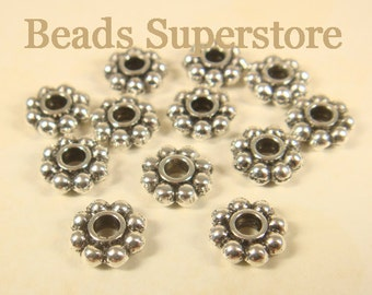 SALE 8 mm x 3 mm Antique Silver Daisy Spacer - Nickel Free, Lead Free and Cadmium Free - 25 pcs
