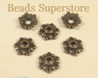 SALE 8 mm x 2 mm Antique Copper Flower Bead Cap - Nickel Free, Lead Free and Cadmium Free - 50 pcs