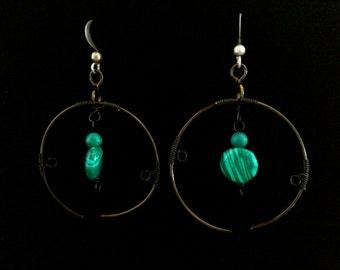 Malachite: Polished semi precious stone with wrapped gun metal wiring hoop earrings