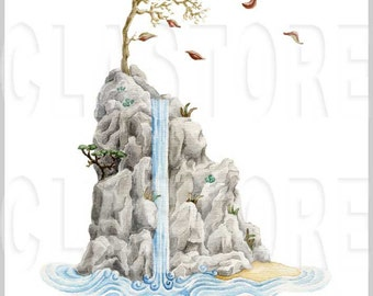 Island and waterfall. Digital print of an original watercolor.