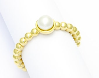 Bead ring - yellow gold with pearl