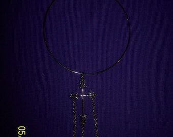 Necklace: Express Black Silver and Faux Pearl Cross #120