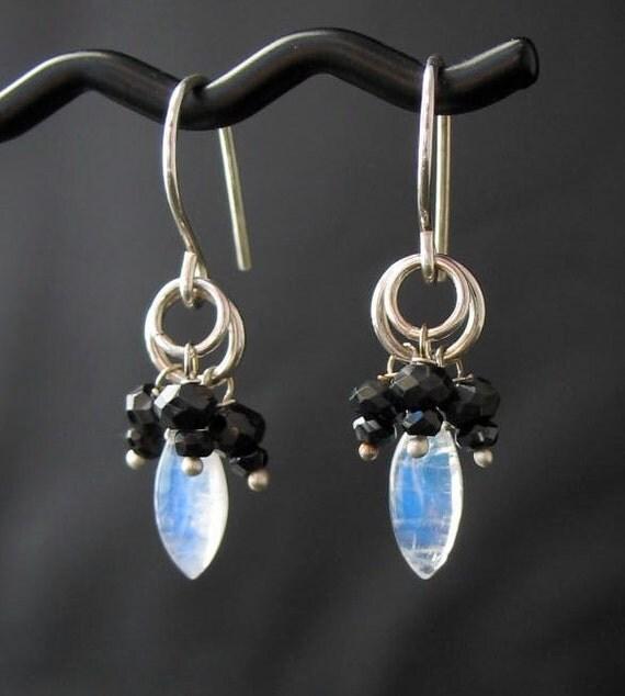 Black Stone Earrings: White Black Stone Cluster Earrings Rainbow By LoneRockJewelry